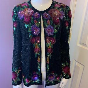 Laurence Kazar Vintage Jacket Sequins Beads Silk S